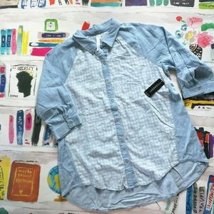 NWT Liverpool Jeans Chambray Button Down Shirt L